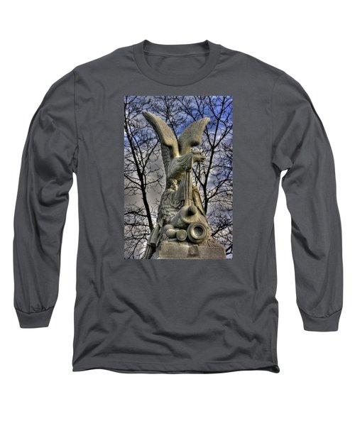 Long Sleeve T-Shirt featuring the photograph War Eagles - 88th Pa Volunteer Infantry Cameron Light Guard-c1 Oak Hill Autumn Gettysburg by Michael Mazaika