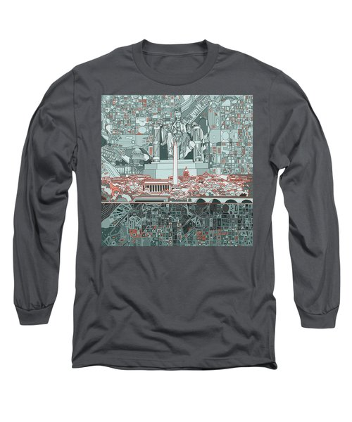 Washington Dc Skyline Abstract Long Sleeve T-Shirt