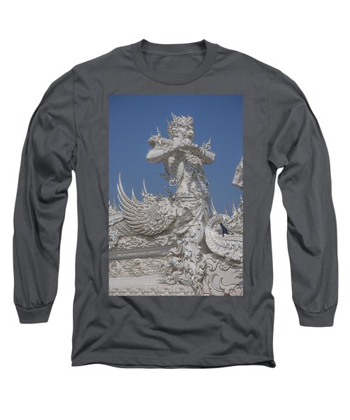 Wat Rong Khun Ubosot Causeway Guardian Dthcr0007 Long Sleeve T-Shirt