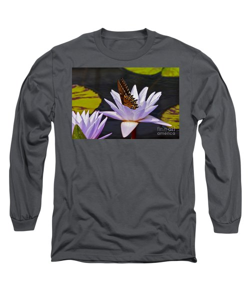 Water Lily And Swallowtail Butterfly Long Sleeve T-Shirt
