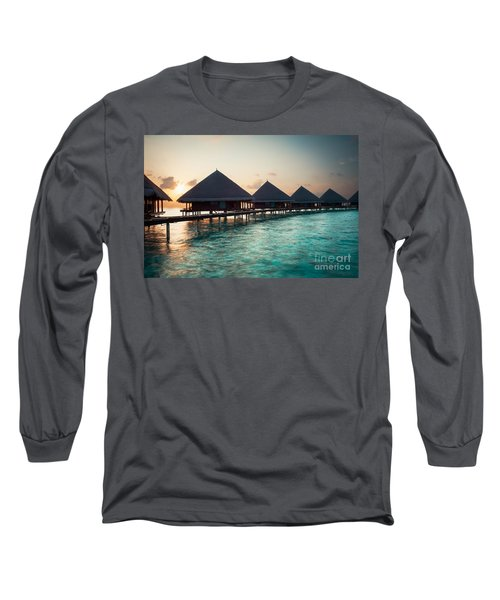 Waterbungalows At Sunset Long Sleeve T-Shirt