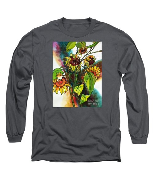 Sunflowers On The Rise Long Sleeve T-Shirt by Kathy Braud