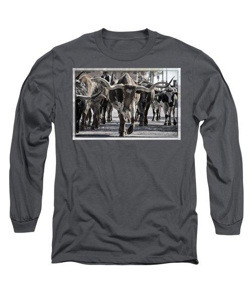 Watercolor Longhorns Long Sleeve T-Shirt