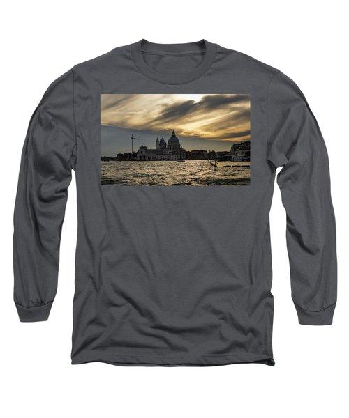 Long Sleeve T-Shirt featuring the photograph Watercolor Sky Over Venice Italy by Georgia Mizuleva