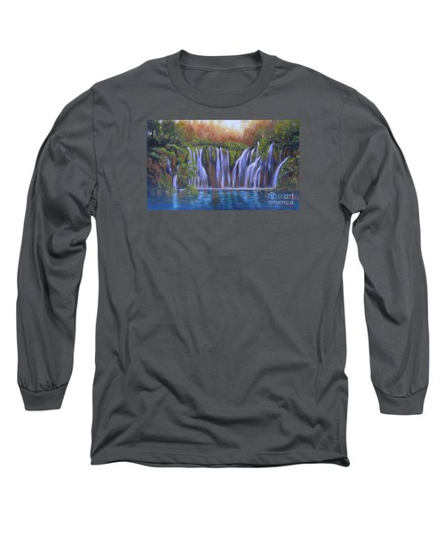 Long Sleeve T-Shirt featuring the painting Waterfalls - Plitvice Lakes by Vesna Martinjak