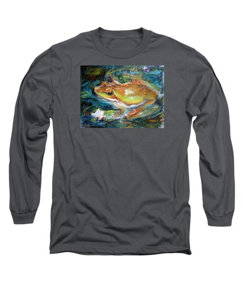 Long Sleeve T-Shirt featuring the painting Waterlily And Frog by Jieming Wang
