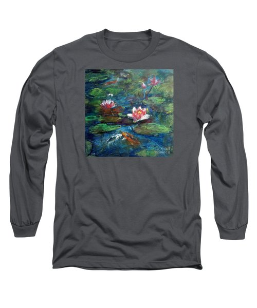 Long Sleeve T-Shirt featuring the painting Waterlily In Water by Jieming Wang