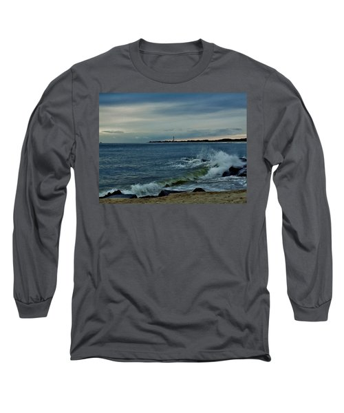 Wave Crashing At Cape May Cove Long Sleeve T-Shirt by Ed Sweeney