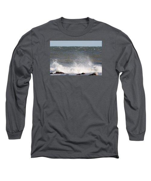 Waves Pounding The Montauk Surf Long Sleeve T-Shirt by John Telfer