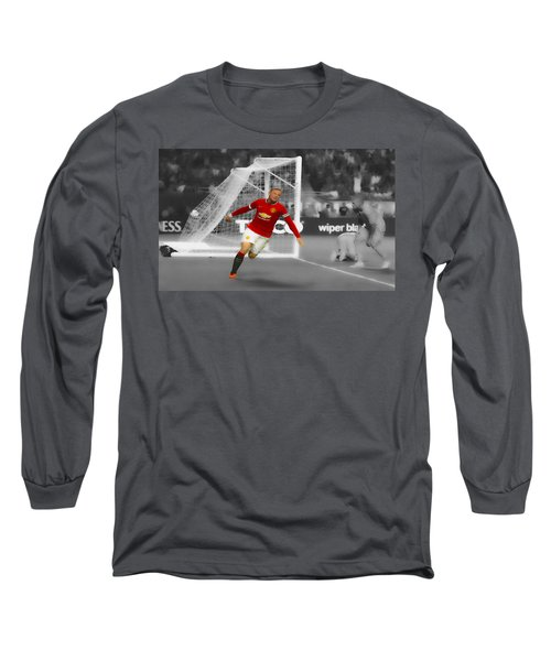 Wayne Rooney Scores Again Long Sleeve T-Shirt by Brian Reaves