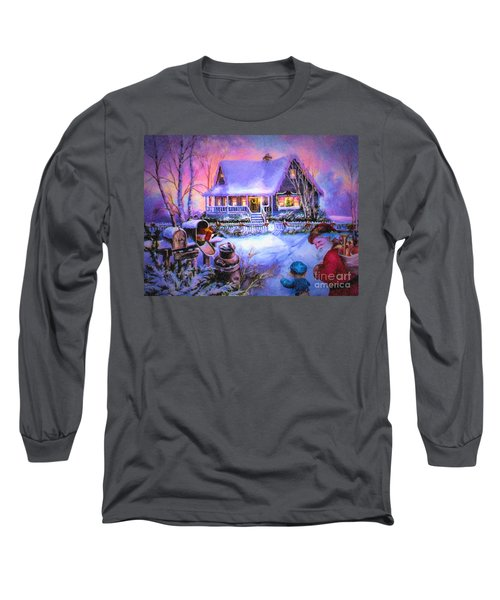 Long Sleeve T-Shirt featuring the digital art Welcome Santa - Retro Vintage Inspired Christmas Scene by Lianne Schneider
