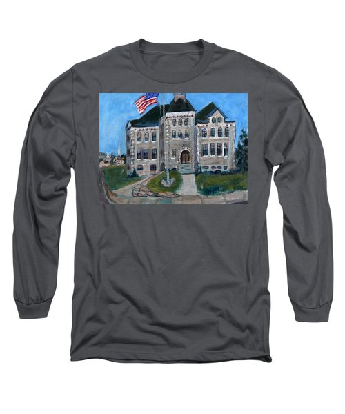 Long Sleeve T-Shirt featuring the painting West Hill School In Canajoharie New York by Betty Pieper