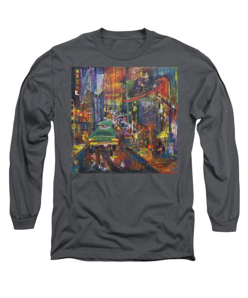 Wet China Lights Long Sleeve T-Shirt by Leela Payne