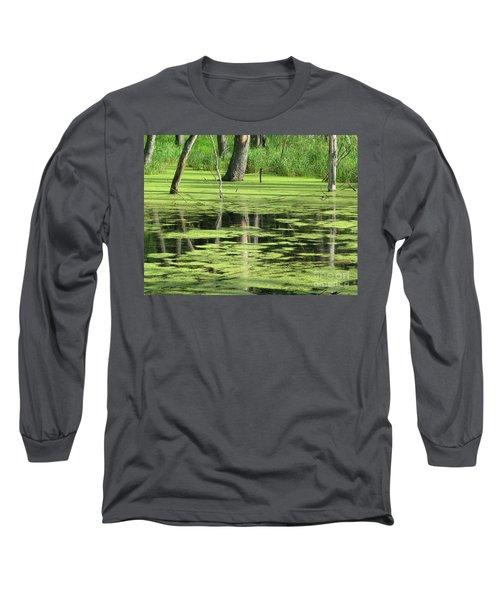 Long Sleeve T-Shirt featuring the photograph Wetland Reflection by Ann Horn