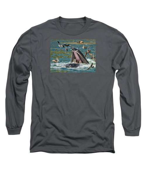 Whale Almost Eating A Pelican Long Sleeve T-Shirt by Alice Cahill