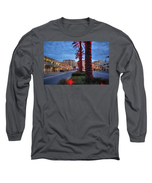 Long Sleeve T-Shirt featuring the digital art Wharf Red Lighted Trees by Michael Thomas