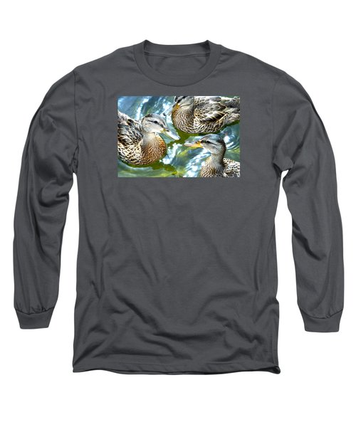 When Duck Bills Meet Long Sleeve T-Shirt by Lesa Fine