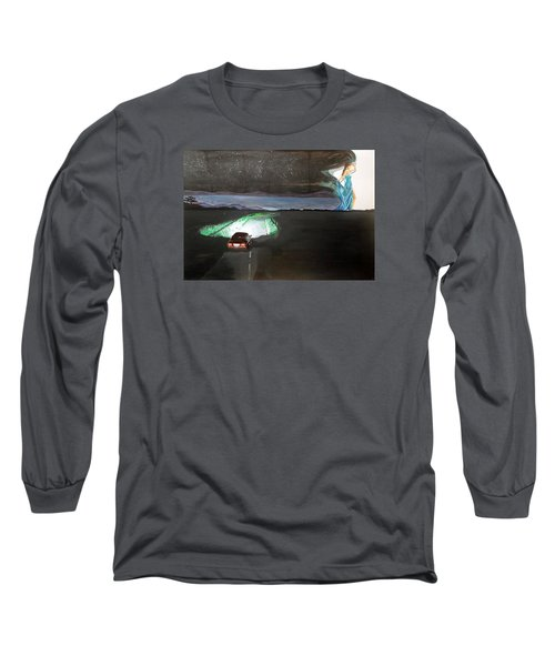 Long Sleeve T-Shirt featuring the painting When The Night Start To Walk Listen With Music Of The Description Box by Lazaro Hurtado