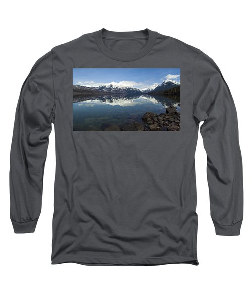 When The Sun Shines On Glacier National Park Long Sleeve T-Shirt by Fran Riley