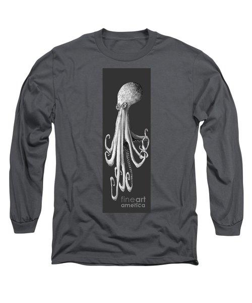 Whimsical Coastal Art Original Octopus Painting Depths Of The Sea II By Megan Long Sleeve T-Shirt