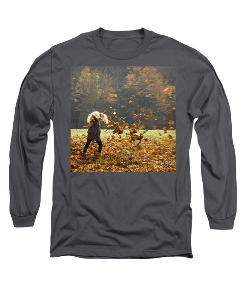 Long Sleeve T-Shirt featuring the photograph Whirling With Leaves by Carol Lynn Coronios