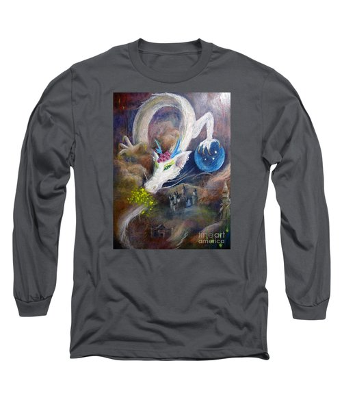 Long Sleeve T-Shirt featuring the painting White Dragon by Jieming Wang