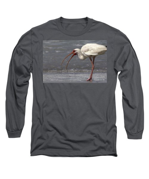 Long Sleeve T-Shirt featuring the photograph White Ibis On The Beach by Meg Rousher