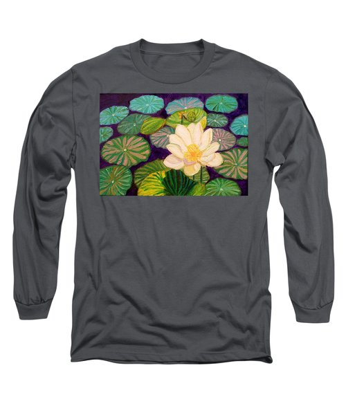White Lotus Flower Long Sleeve T-Shirt