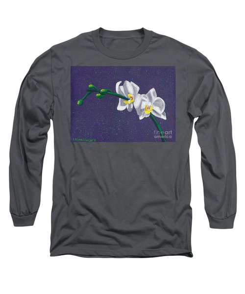 White Orchids On Dark Blue Long Sleeve T-Shirt by Laura Forde