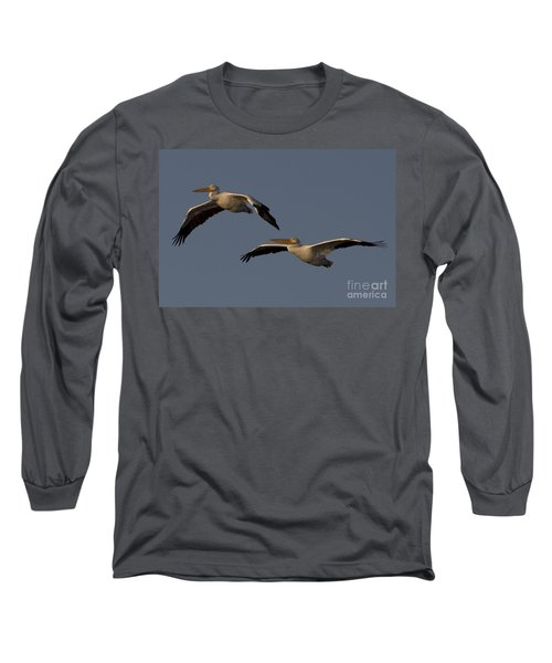 Long Sleeve T-Shirt featuring the photograph White Pelican Photograph by Meg Rousher