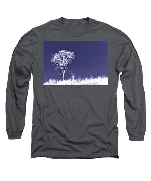 White Tree - Blue Sky - Silver Stars Long Sleeve T-Shirt