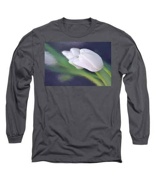 White Tulip Reflected In Dark Blue Water Long Sleeve T-Shirt