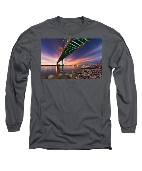 Whitestone Bridge Long Sleeve T-Shirt by Mihai Andritoiu