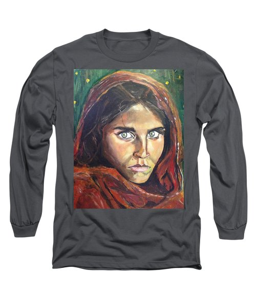 Long Sleeve T-Shirt featuring the painting Who's That Girl? by Belinda Low