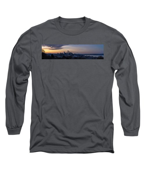 Wide Seattle Morning Skyline Long Sleeve T-Shirt by Mike Reid