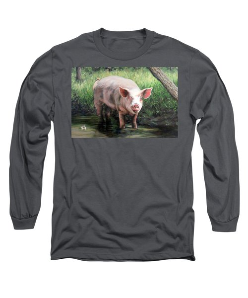 Wilbur In His Woods Long Sleeve T-Shirt by Sandra Chase