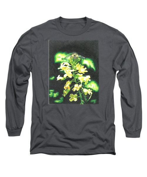 Long Sleeve T-Shirt featuring the drawing Wild Flower by Troy Levesque