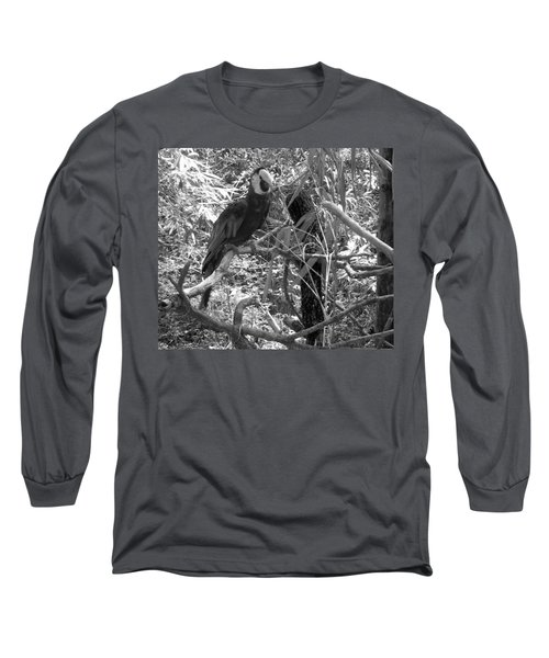 Long Sleeve T-Shirt featuring the photograph Wild Hawaiian Parrot Black And White by Joseph Baril