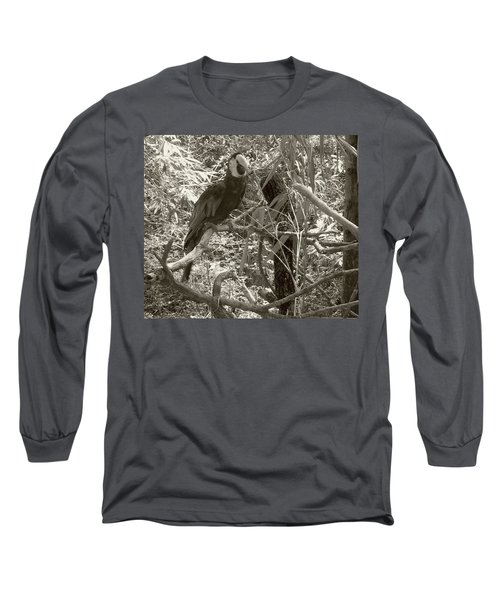 Wild Hawaiian Parrot Sepia Long Sleeve T-Shirt