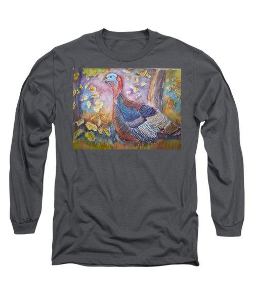 Wild Turkey In The Brush Long Sleeve T-Shirt by Belinda Lawson