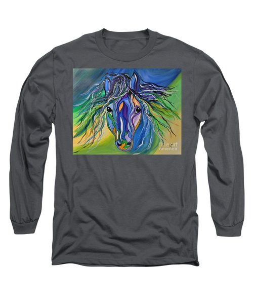 Long Sleeve T-Shirt featuring the painting Willow The War Horse by Janice Rae Pariza