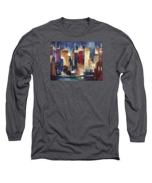 Windy City Nights Long Sleeve T-Shirt by Kathleen Patrick