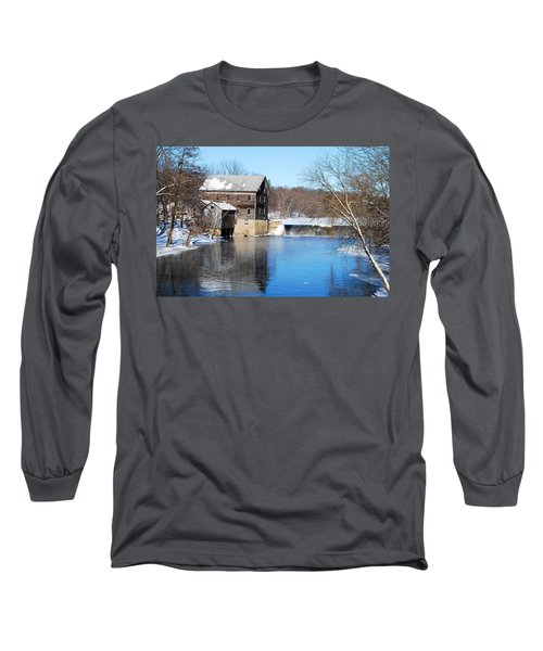 Long Sleeve T-Shirt featuring the photograph Winter Capture Of The Old Jaeger Rye Mill by Janice Adomeit