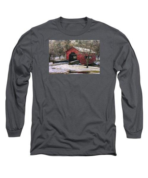 Winter Crossing In Elegance - Carroll Creek Covered Bridge - Baker Park Frederick Maryland Long Sleeve T-Shirt by Michael Mazaika