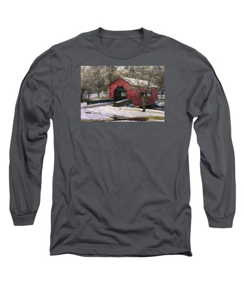 Winter Crossing In Elegance - Carroll Creek Covered Bridge - Baker Park Frederick Maryland Long Sleeve T-Shirt