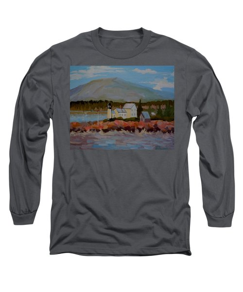 Long Sleeve T-Shirt featuring the painting Winter Harbor Light by Francine Frank