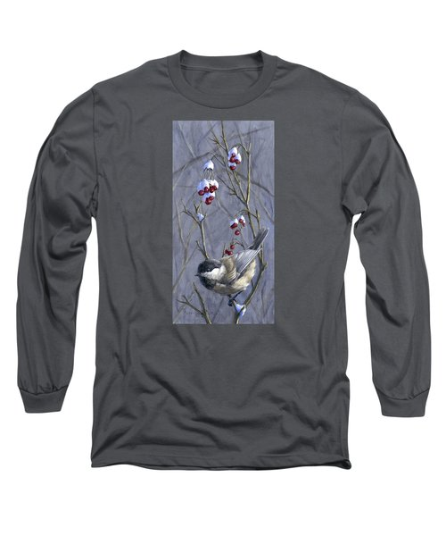 Winter Harvest 2 Chickadee Painting Long Sleeve T-Shirt