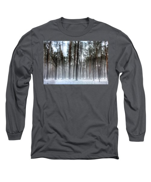 Winter Light In A Forest With Dancing Trees Long Sleeve T-Shirt