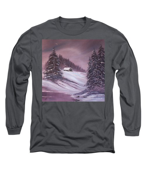 Long Sleeve T-Shirt featuring the painting Winter Moon by Janice Rae Pariza