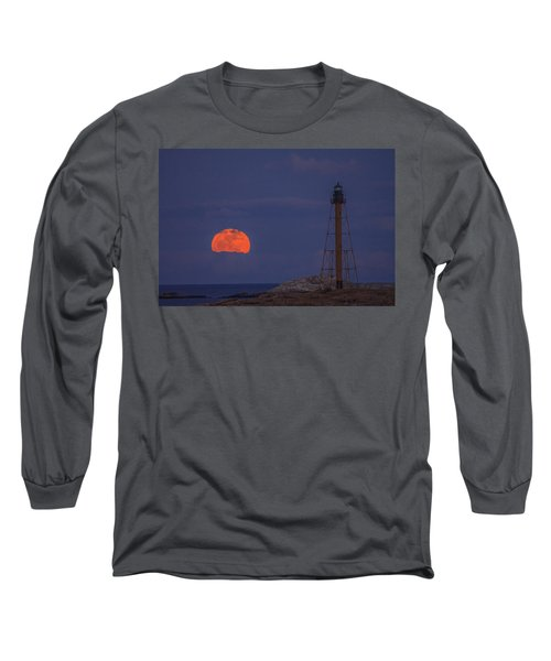 Winter Moon Rising Over Marblehead Light Long Sleeve T-Shirt by Jeff Folger